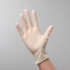 Перчатки латексные неопудренные текстурированные на ладони, размер M, 100 шт в коробке
