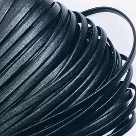 Шнур декоративный, кожзам, 4 мм, цвет чёрный Ош