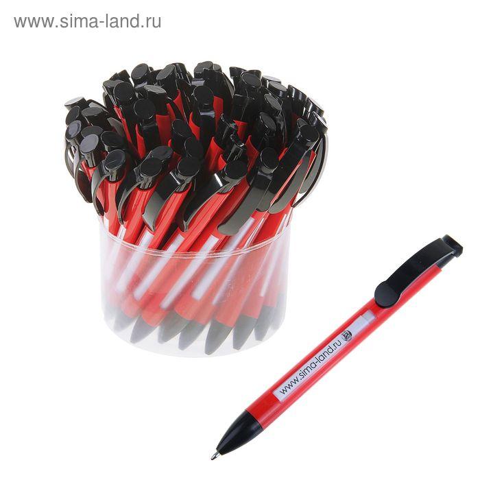 Ручка шариковая автоматическая Лого Окно корпус красный с черной вставкой стержень синий