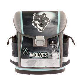 Ранец на замке Belmil Classy 36*32*19 мал напол: мешок, пенал Wolf, серый