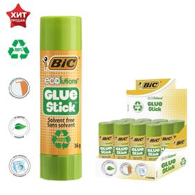 Клей-карандаш, прозрачный, твёрдый, 36 г, BIC Glue Stick, ECOlutions
