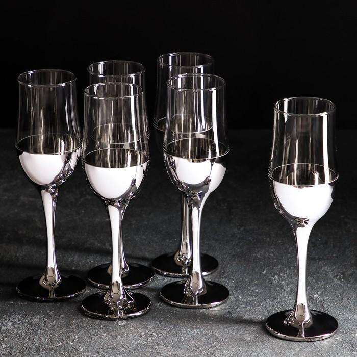 "Набор бокалов для шампанского 200 мл ""Поло"", серебро, 6 шт"