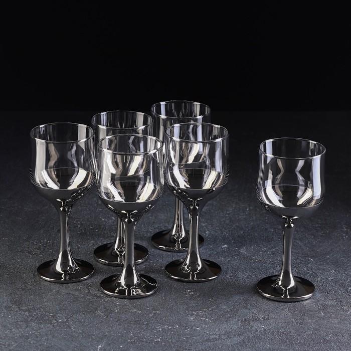 """Набор бокалов для вина 250 мл """"Поло"""", серебро, 6 шт"""