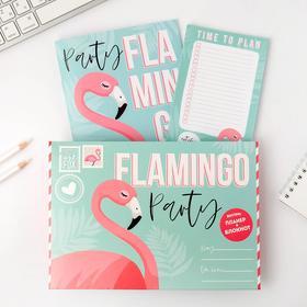 """Подарочный конверт: блокнот А5, 32 листа и планинг 50 листов """"Фламинго"""""""