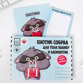 """Подарочный конверт: блокнот А5, 32 листа и планинг 50 листов """"Енот"""""""