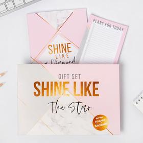 Подарочный конверт: блокнот А5, 32 листа и планинг 50 листов Shine like