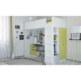 Кровать-чердак Polini kids Simple с письменным столом и шкафом, цвет белый с зеленым
