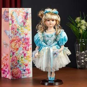 "Doll collectible ceramic ""Ballerina-Malvina in a blue dress"" 35 cm in a gift bag 510935"