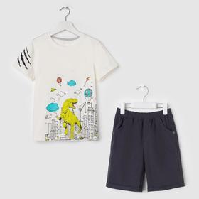 Комплект для мальчика, цвет светло-бежевый/серый, рост 104 см (56)