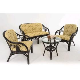 Набор мебели: диван, два кресла, стол, с подушкой, цвет темно-коньячный, 01/91ТК