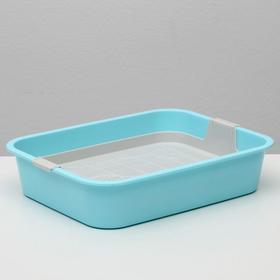 """Туалет """"Мур-мяу"""" для кошек, с сеткой, 33,2 х 25,6 х 7,2 см зеленый"""