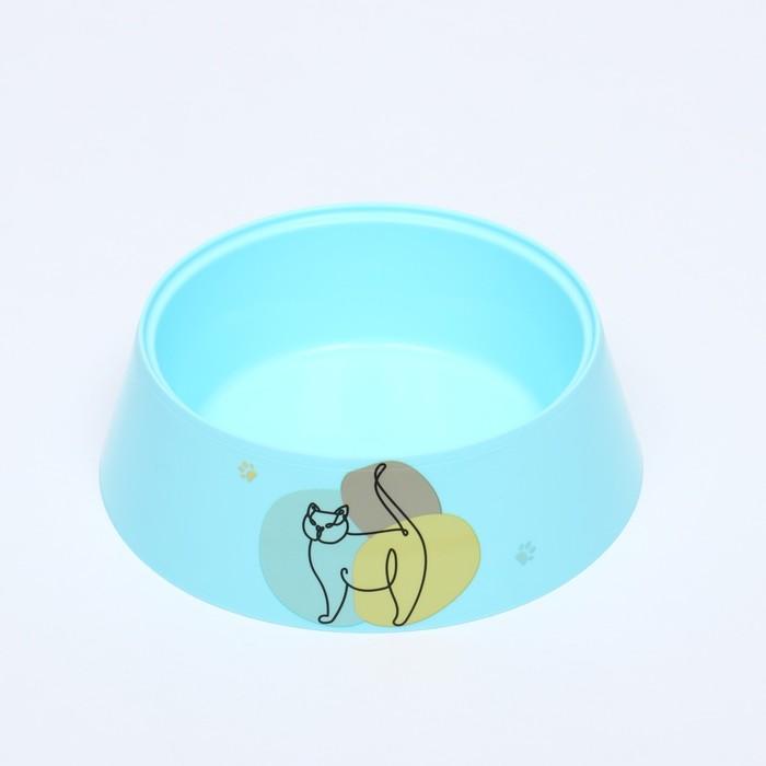 """Миска """"Мур-мяу"""" для кошек, 0.3 л, голубая - быстрая доставка"""