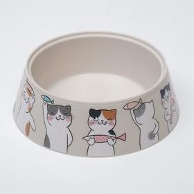 """Миска """"Мур-мяу"""" для кошек, 0.3 л, серая"""