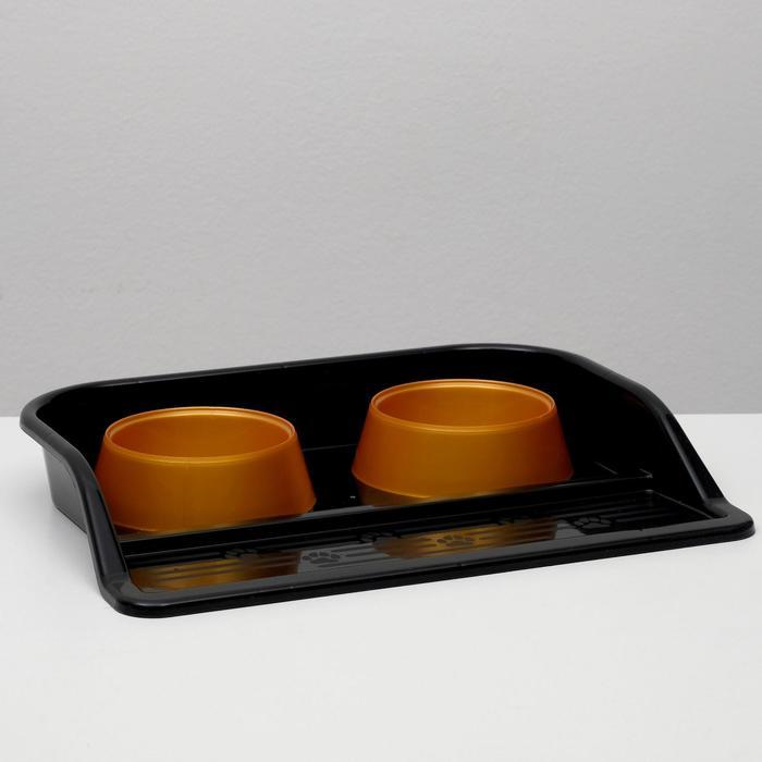 """Набор: миски+ лоток """"Феликс"""", 0,3 л 41 x 30 x 6 см,  черный лоток+золотые миски - быстрая доставка"""