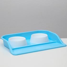 """Набор: миски+ лоток """"Феликс"""", 0,3 л 41 x 30 x 6 голубой лоток + белые миски"""