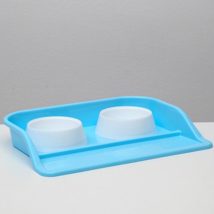 """Миски с лотком """"Феликс"""" 0,3 л, 41 x 30 x 6 см, голубой лоток, белые миски"""