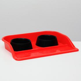 """Набор: миски+ лоток """"Феликс"""", 0,3 л 41 x 30 x 6 см, красный лоток-черная миска"""