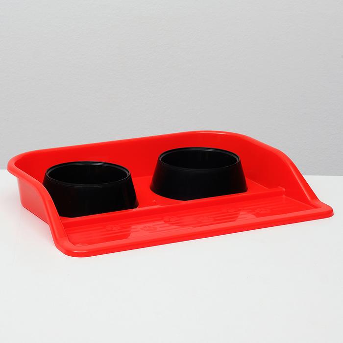 """Миски с лотком """"Феликс"""" 0,3 л, 41 x 30 x 6 см, красный лоток, черные миски"""
