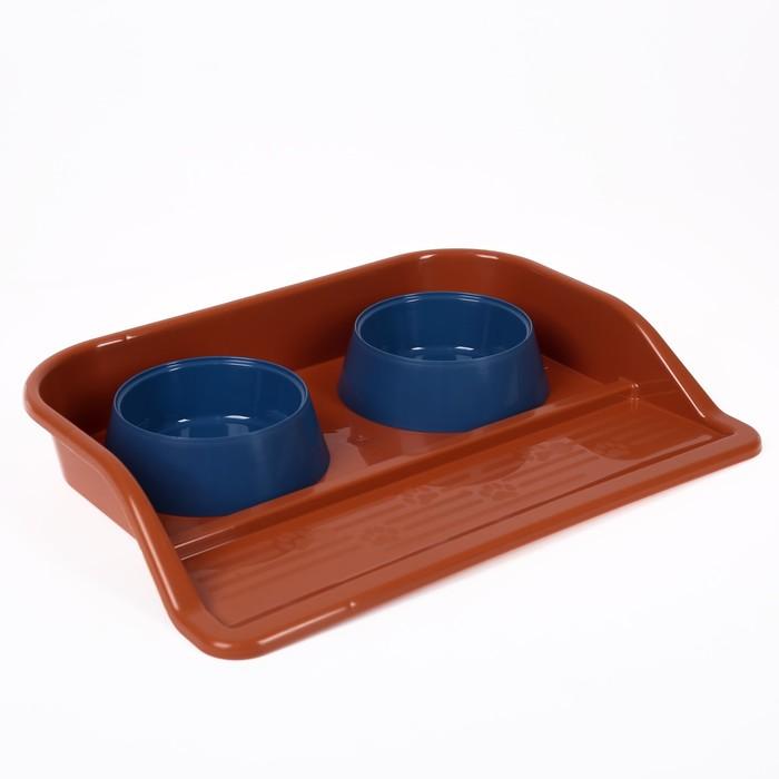"""Миски с лотком """"Феликс"""" 0,3 л, 41 x 30 x 6 см, оранжвый лоток, синие миски"""