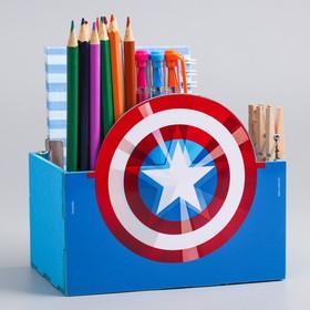 """Органайзер для канцелярии """"Капитан Америка"""", Мстители, 150 х 100 х 80 мм"""