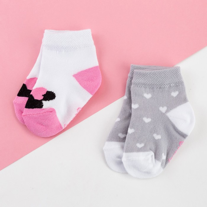 Набор носков Минни Маус, 2 пары, 10-12 см - фото 76184247