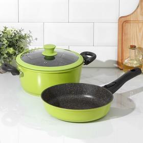 Набор посуды Casta Color, 2 предмета: сковорода d=24 см, съёмная ручка; кастрюля 4 л, стеклянная крышка, цвет зелёный