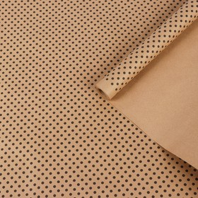 Paper, wrapping, Kraft polka dot, black on brown, 0.7 x 8.5 m, 70 g/m2
