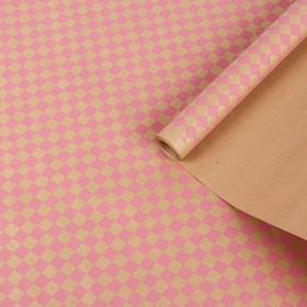 "Paper, wrapping, Kraft ""Diamonds"", pink on brown, 0.7 x 8.5 m, 70 g/m2"