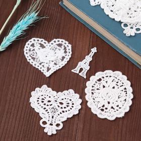 Набор вязаных элементов «Сердечки и бабочки», 8 шт, цвет белый