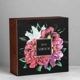 "Wooden gift box ""Flowers"", 25 × 25 × 10 cm"