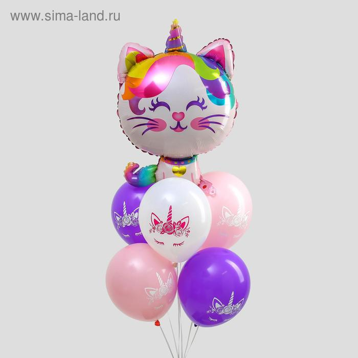 "A bouquet of balloons ""happy birthday, kitten-unicorn."", foil, latex, set of 6 PCs + sinker"