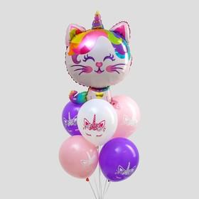 Букет из шаров «С днём рождения», котик-единорог, фольга, латекс, набор 6 шт., цвета МИКС - фото 7386546