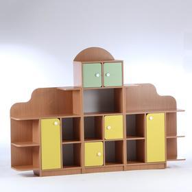 "Стенка для игрушек ""Антошка"" 2000х300х1400, ЛДСП, корпус - бук, фасады - цветные"