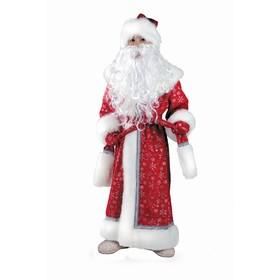 """Карнавальный костюм """"Дед Мороз плюш"""" красный, пальто, рукавицы, шапка, р.34, рост 140 см"""