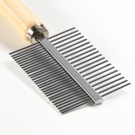 Расчёска двусторонняя с деревянной ручкой, 17 х 5,5 см - быстрая доставка