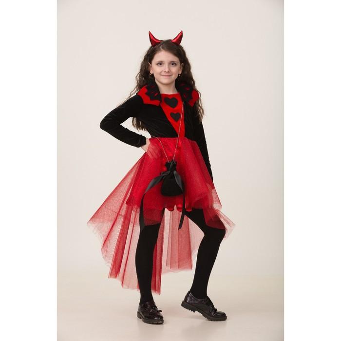 """Карнавальный костюм """"Дьяволица"""", платье, маска, р.30, рост 116 см"""