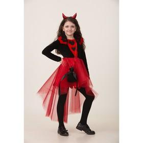 Карнавальный костюм «Дьяволица», платье, ободок с рожками, сумочка, р. 32, рост 128 см