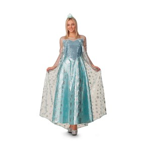 Карнавальный костюм «Эльза», платье, корона, р. 46, рост 170 см