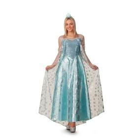 Карнавальный костюм «Эльза», платье, корона, р. 50, рост 170 см