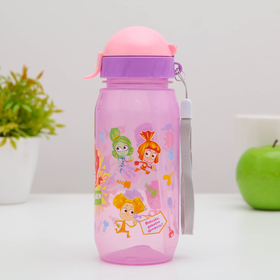 "Bottle for beverages with a straw for children 400 ml ""Fixies animated fire and Toe"""