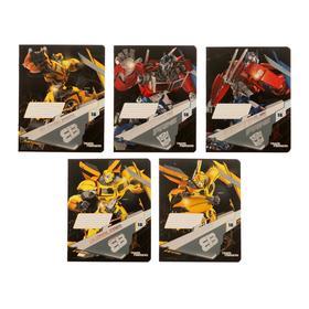 Тетрадь 18 листов в клетку Transformers, обложка мелованный картон, выборочный УФ-лак, тиснение фольгой, блок офсет, МИКС