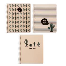 Тетрадь 96 листов в клетку, на гребне «Дружелюбные кактусы», обложка мелованный картон, ВД-лак, блок офсет, МИКС