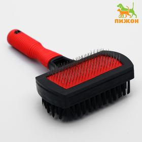 Sided slicker brush with rubber handle 10 x 16.5 cm, mix colors