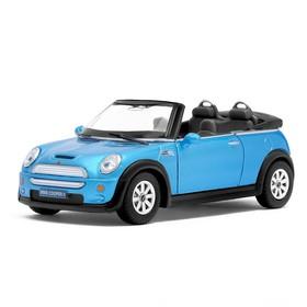 Машина металлическая Mini Cooper S Convertible, 1:28, открываются двери, инерция, цвет голубой