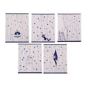 Тетрадь 48 листов в клетку «Занавески и коты», обложка мелованный картон, тиснение фольгой, блок офсет, МИКС