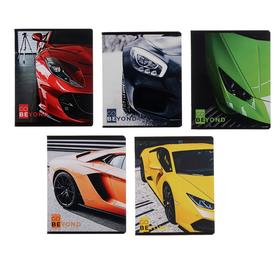 Тетрадь 48 листов в клетку «Цветные машины», картонная обложка, блок офсет, МИКС