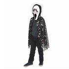"Carnival cloak ""hands"" gold on black, mask, decor chain, length 73cm"
