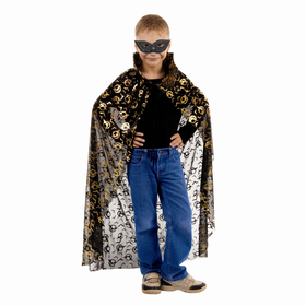 "Carnival cloak ""Bats in the ring"" gold on black, mask, length 104cm"