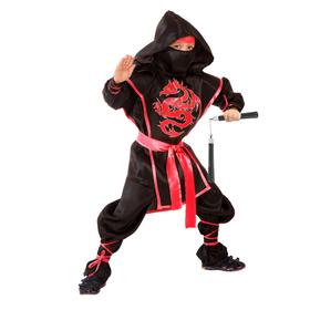 Костюм ниндзя «Красный дракон», рубашка, брюки, защита, пояс, маска, нунчаки, р. 34, рост 134 см
