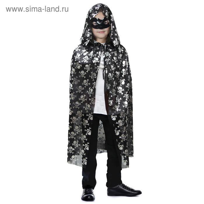 """Carnival coat for Halloween """"Skull medium """", mask, length 70 cm"""